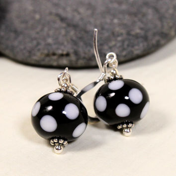 Polka Dots, Black & White Glass Earrings, Sterling Silver, Lampwork Glass, Glass Jewelry, Dangle, Glass Earrings, Lampwork, Swedish Handmade