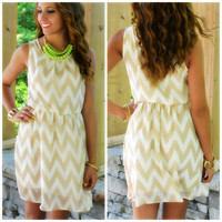 Macchiato Light Mocha Chevron Sleeveless Dress