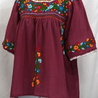 """""""La Marina"""" Embroidered Mexican Peasant Blouse -Burgundy + Fiesta"""