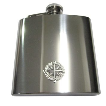 Silver Toned Textured Nautical Compass 6oz Flask