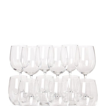 Set of 12 Stem & Stemless Wine Glasses