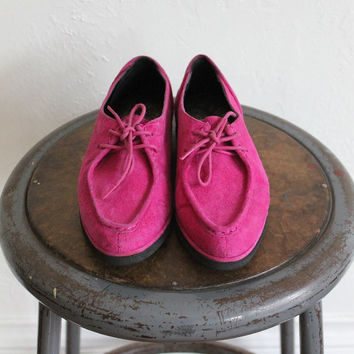 Vintage 80s Fuchsia Suede Lace Up Booties // Women's Bright Pink Flats Sz 6.5