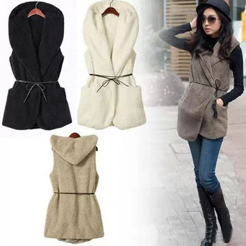 Fashion Womens Winter Autumn Warm Hoodie Vest Coat Jacket Oversized Faux Lamb Fur With Belt Tops Blouse = 1930245252