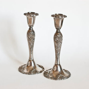 Vintage Godinger Silver Plate Candle Holders, Classic Ornate, Victorian Style Scroll Grape Pattern, Manor House Decor