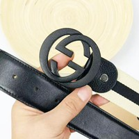 GUCCI new leather stitching canvas versatile simple smooth buckle belt