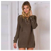 """Style and Flare"" V Neck Lace Up Olive Sweater"