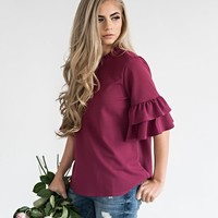 Berry Smock Neck Ruffle Top - JessaKae