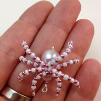 Tiny Pink & White Beaded Spider Pendant