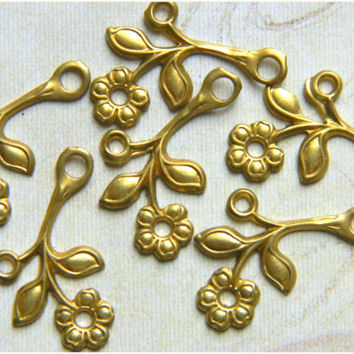 Raw Brass Flower Leaf Stamping Right Facing Drop 12mm x 22mm - 6 pcs.
