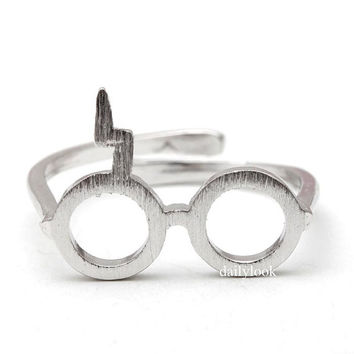 silver harry potter ring, harry potter ring, harry potter glasses ring, glasses ring, adjustable ring,mens ring,couple ring,unique ring