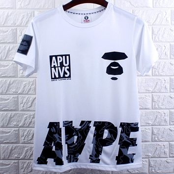 Aape Tide brand black and white camouflage printed couple round neck short-sleeved T-shirt white