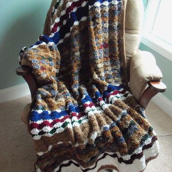 White, Blue, Red, and Brown Multi Crochet Afghan by SnugableTouches