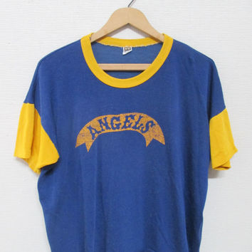 50s ANGELS MORTUARY Color Block Vintage Russell Southern Company Jersey T-Shirt / Size xs - Small
