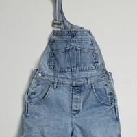 Guess Jeans Overall Denim Shorts Waist 34 Made In USA