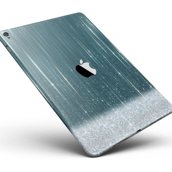"Scratched Teal and White Surface with Silver Sparkle Full Body Skin for the iPad Pro (12.9"" or 9.7"" available)"