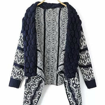 Ethnic Geometric Pattern Print Long Sleeve Knit Shawl Cardigan