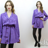 1980s Dress 80s Dress Secretary Dress Purple Dress 80s Mini Dress Longsleeve Dress Work Dress Day Dress M L