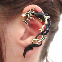 Fire dragon ear cuff wrap earring - gothic black dragon jewelry