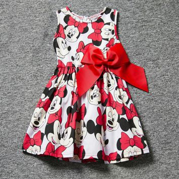 Princess Baby Girl Dress Minnie Mouse Dress Printing Dot Sleeveless Party Dress Girl Clothes Fashion Kids Baby Costume