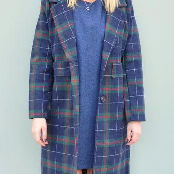 Plaid Longline Blazer Coat