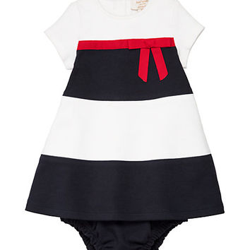 Kate Spade Babies' Stripe Dress And Bloomer Set Rich Navy/ Fresh White