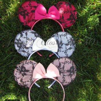 Minnie inspired Lace Ears Headband with Bow