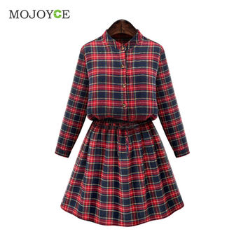 Sexy New Red Plaids Dress Long Sleeve Women Dress Casual Party Short Mini Dress Plus Size 2XL 3XL 4XL 5XL Vestido SN9