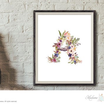 Printable Floral Monogram Art Nursery Art Initial Art Print Flower Initial Art Print  Alphabet Art Print Instant Download Monogram Printable