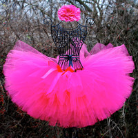 "Pink tutu/Handmade and custom tutus for your ""little princess..."" can be made any solid color/ pink tutu/ newborn-12 months,1,2,3,& up"