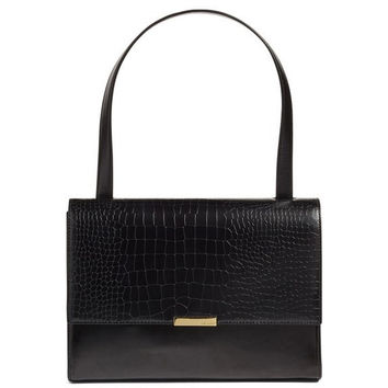 'Lowri' Croc Embossed Leather Shoulder Bag
