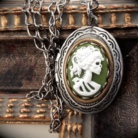 Green Skull Cameo Locket Necklace Skeleton by DeadlyRomanticGirl