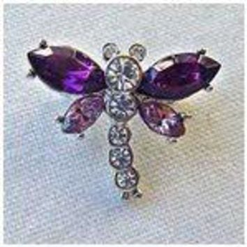 Platinum-Plated Swarovski Crystal Mini Dragonfly Design Brooch/Pin (1/2 x 3/4) - Gift Boxed