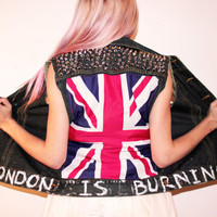 London Is Burning Punk Rock Sleeveless Studded Denim Jean Vest / British Flag / Mod Fashion / UK Style / Union Jack /
