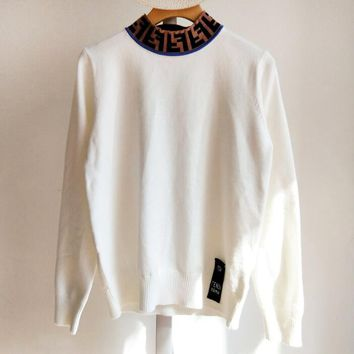 FENDI Autumn Winter Fashionable Women Slim Half High Collar Knit Sweater Top Sweatshirt White