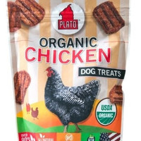DOG TREATS - ALL OTHER - ORGANIC CHICKEN STRIPS - USA - 6 OZ - PLATO PET TREAT/KDR PET TREATS - UPC: 859554001175 - DEPT: DOG PRODUCTS