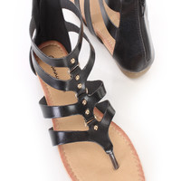 Black Strappy Gladiator Thong Sandals Faux Leather