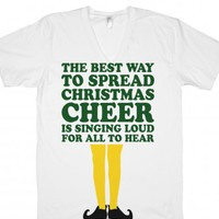 The Best Way To Spread Christmas Cheer (Elf V Neck)-White T-Shirt L  