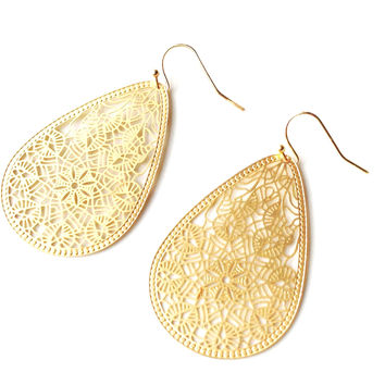 Kate Filigree Gold Pear Earrings