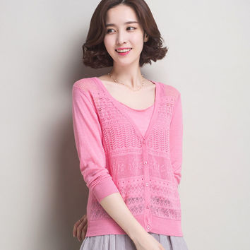 2016 Summer New Women Cardigans Hollow Out Knitting Candy Color Beach Sun Protection Sweater Elegant Ladies Thin Coat