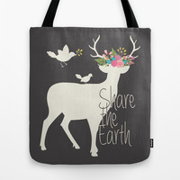 Share the Earth Tote Bag by Bohemian Gypsy Jane