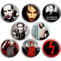 Marilyn Manson Pinback Buttons Badge 1.25 inch (Set of 8) NEW