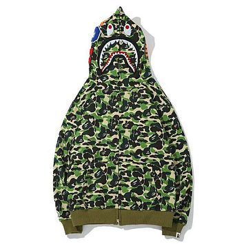Bape Aape Autumn And Winter New Fashion Shark Tiger Print Camouflage Women Men Hooded Long Sleeve Sweater Coat Top Green