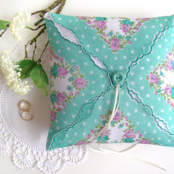 Aqua Wedding Ring Pillow, Ring Bearer, Vintage Styling, Ring Bearer Pillow, Ring Cushion, Floral, Vintage handkerchief Pillow