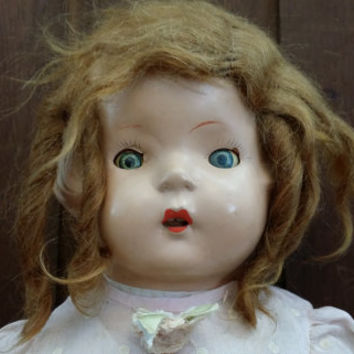 "Vintage Doll Composition Head and Arms Teeth with Straw Stuffed Body 20"" Great Collectible Creepy Decor"