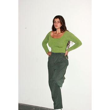 Forest Green Corduroy Easy Pants / M L XL