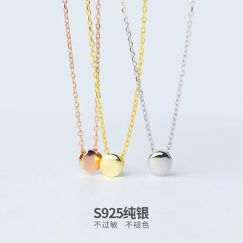 1pc Real. 925 Sterling Silver 5.5MM Lucky Round Bean Pendant Necklace Chain Rose Gold color Yellow Gold color White color X482