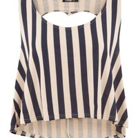 New Look Mobile | Te Amo Blue Stripe Heart Cut Out Top