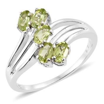 Peridot Platinum Over Sterling Silver Ring