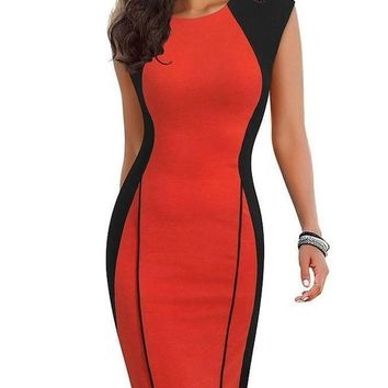Vintage Optical Illusion ColorBlock Bodycon Dress