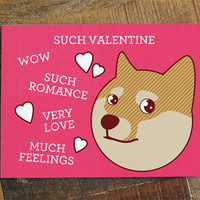 "Doge Valentine Card ""Such Valentine"" - Funny Valentine's Day Card, Geeky Nerdy Card, Shibe Doge Card, Internet Meme Card, Pink Hearts Card"